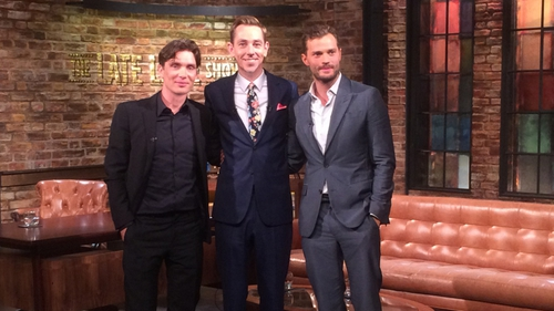Cillian Murphy and Jamie Dornan with Late Late Show host, Ryan Tubridy