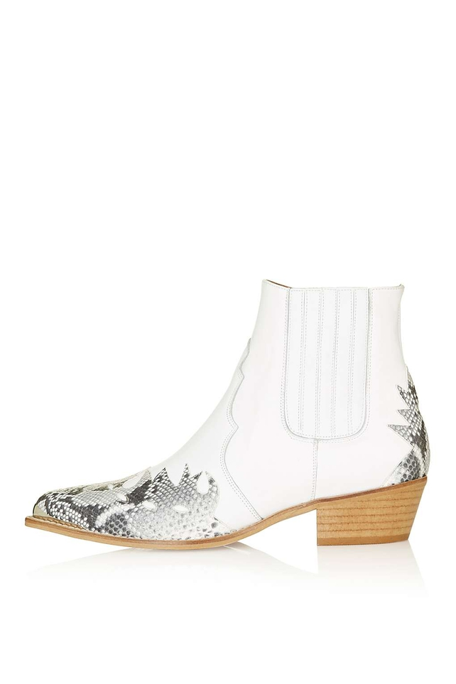 Country Chic White Ankle Boots by Topshop