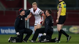 Ulster's Stuart Olding struggles to his feet after picking up a suspected concussion in a Pro12 game