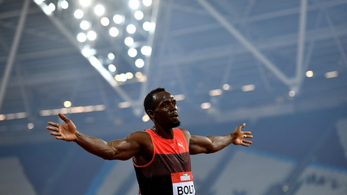 Usain Bolt celebrates winning at London's Olympic Stadium at the 2016 Anniversary Games