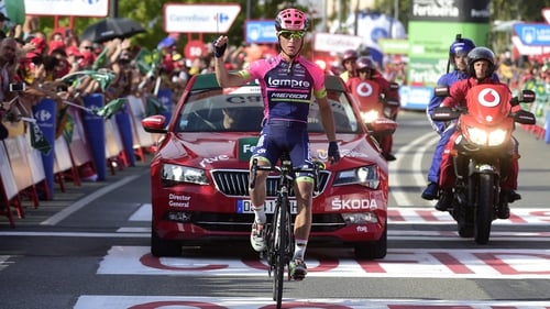 Valerio Conti stormed to victory on Stage 13