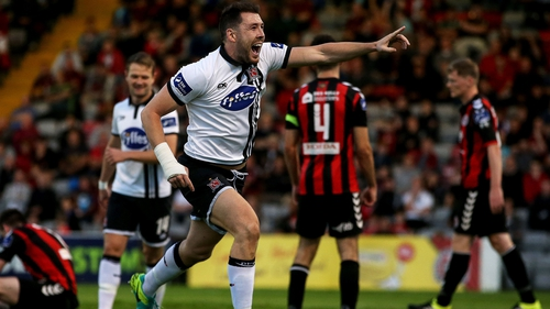 Gartland celebrates his goal against Bohs at Dalymount Park on Friday night