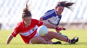 Cork's Doireann O'Sullivan is challenged by Josephine Fitzpatrick of Monaghan