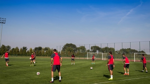 The Serbia team going through their paces at training on Sunday morning