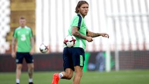 Hendrick trained with the Irish squad in Belgrade
