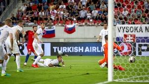 Adam Lallana scored his first goal for England in Trnava