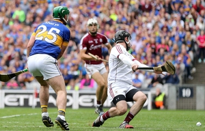 John 'Bubbles' O'Dwyer slams home a crucial goal against Galway