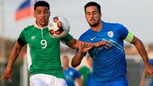 Republic of Ireland's Courtney Duffus in action against Luka Krajnc of Slovenia