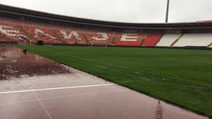 The pitch in Belgrade has held up after torrential rain