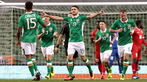 Robbie Brady celebrates after scoring against Oman last week