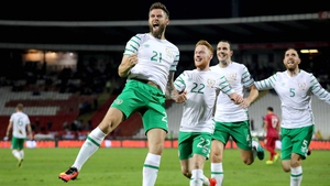 Daryl Murphy jumps with joy after opening his account for Ireland
