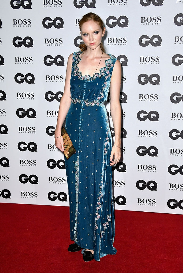 Lily Cole chose a romantic long empire-waist dress.