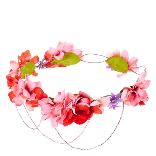 Pink Ombre Bead Swag Flower Crown