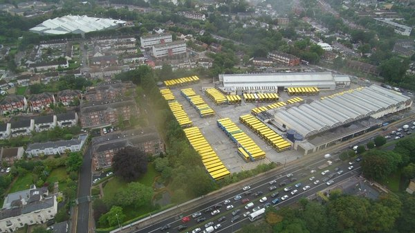 Donnybrook Bus Garage with buses parked during today's strike (Pic: @dubdrone/Bartek Wanczyk)