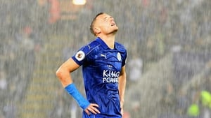 Jamie Vardy looks to the heavens