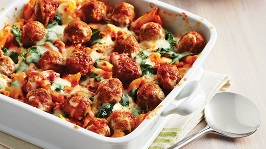 Neven's Recipe - Back to school,   Italian meatball & spiniach gratin.