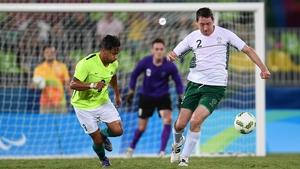 Joseph Markey of Ireland in action against Wesley Martins de Souza of Brazil