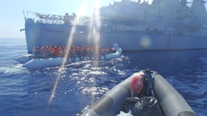 The crew of the LÉ James Joyce rescued 423 people off Libya on Saturday