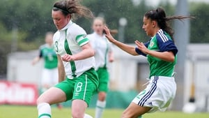 Tiegan Ruddy (L) in action for Ireland