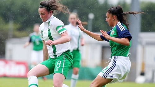 Tiegan Ruddy (L) in action for Ireland