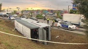 Bus crashed in heavy rain on ring road in Barcelona