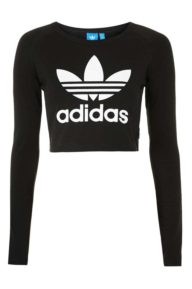 long sleeved Adidas Black Crop Top