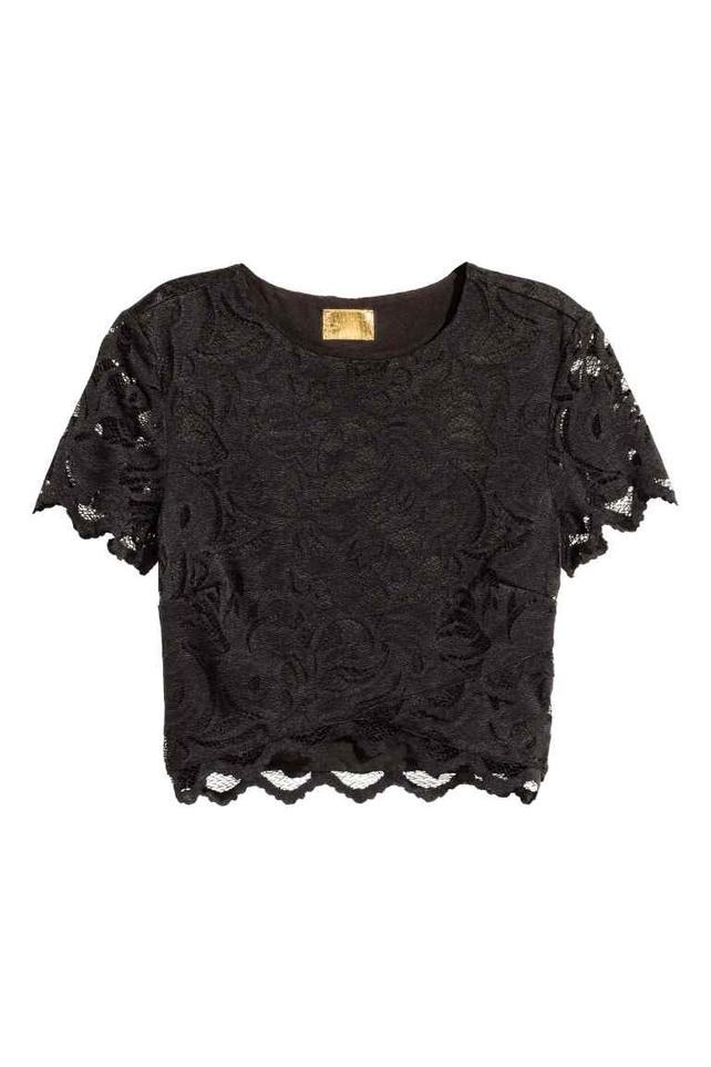 Lace Black Crop Top, H&M