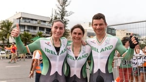Gold medal winners Katie-George Dunlevy, centre, with her pilot Eve McCrystal and Eoghan Clifford