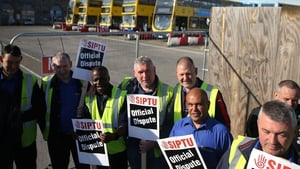 SIPTU members during a strike earlier this month