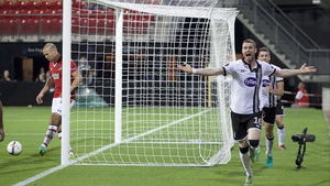 Ciaran Kilduff celebrates his goal against AZ Alkmaar