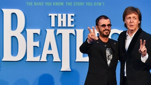 """Ringo Starr and Paul McCartney on the blue carpet - """"We're getting great memories obviously of playing with John and George"""""""