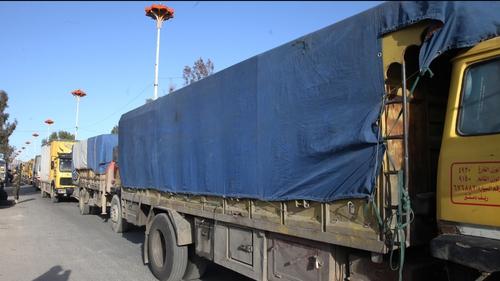The UN said trucks were still waiting at the border with Turkey