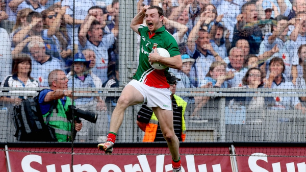 Keith Higgins celebrates Mayo's 2012 All-Ireland semi-final victory over Dublin