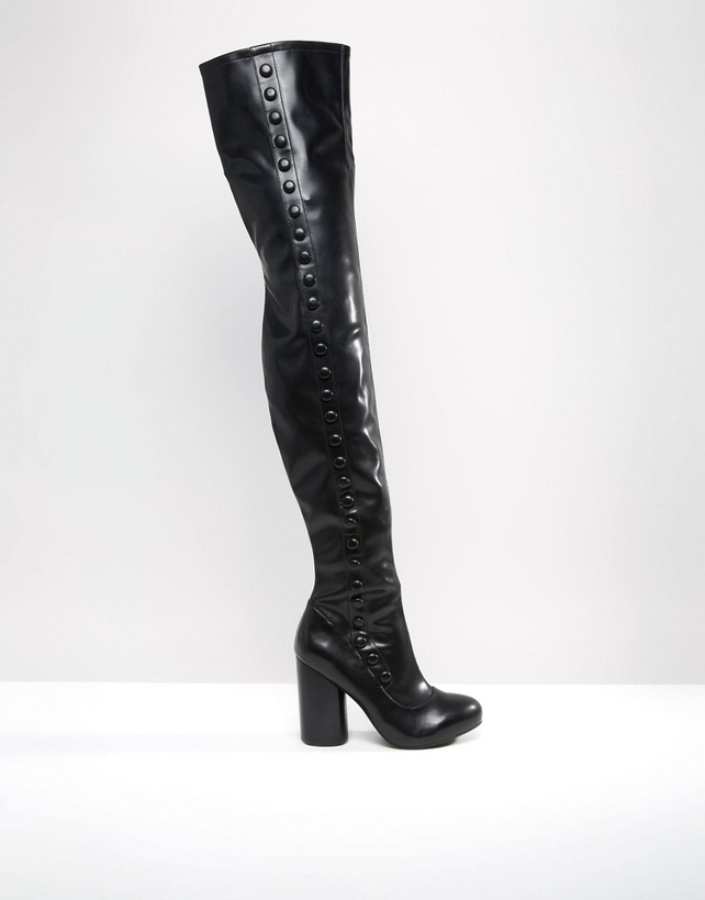Jeffrey Campbell Black Stretch Heeled Over The Knee Boots, €172.00