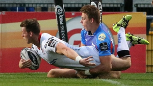 Craig Gilroy is denied a try by Liam williams