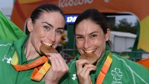Katie-George Dunlevy and Eve McCrystal go for a second medal in today's road race