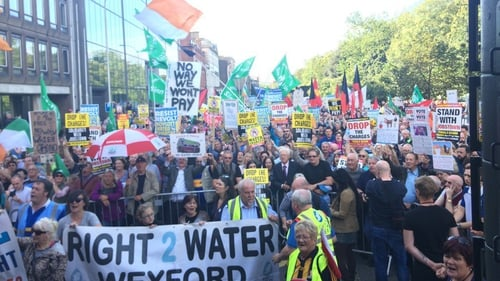Right2Water said80,000 took part in the protest. Other estimates put the figure at up to 15,000