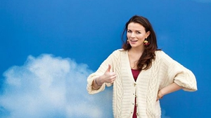 Comedy legend and avocado enthusiast Aisling Bea, pictured standing on a cloud.