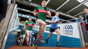 Mayo and Dublin players take to the field at Croke Park