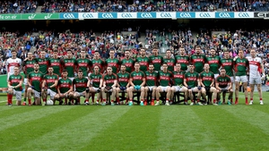 The Mayo squad line up for their pre-match photograph