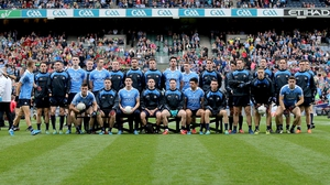 The Dubs go through their pre-match routine with the obligatory squad picture