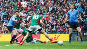 Mayo's Kevin McLoughlin puts the ball into his own net