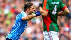 Bernard Brogan celebrates after Kevin McLoughlin deflected his shot to the Mayo net