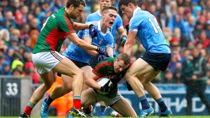 Tom Parsons and Colm Boyle battle with Brian Fenton and Diarmuid Connolly