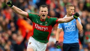 Cillian O'Connor wheels away in celebration after his leveller