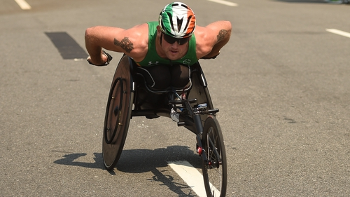 Patrick Monahan finished 16th in the T54 men's marathon