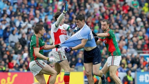 Dublin's Diarmuid Connolly gets in a tangle with with Lee Keegan, Keith Higgins and goalkeeper David Clarke