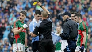 Lee Keegan and Diarmuid Connolly were booked for this altercation