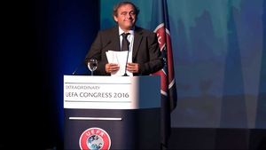 Michel Platini speaking at the opening of the 12th Extraordinary UEFA congress in Lagonissi