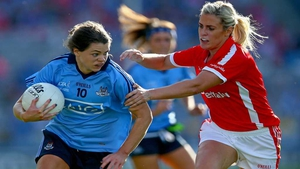 Brid Stack of Cork tries to tackle Noelle Healy during last year's All-Ireland ladies' football final